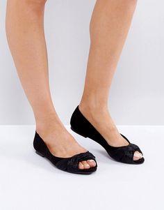 ASOS LINEAR Peep Ballet Flats - Black