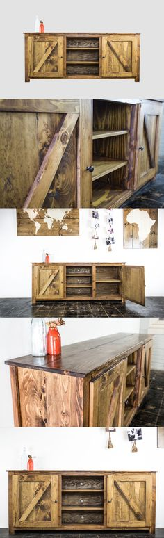 """Rustic barn-style doors make our convenient entertainment piece a true eye-turner. Enclosed storage on the outside plus open shelves in the middle make this the perfect """"under"""" piece to a mounted or sitting television."""