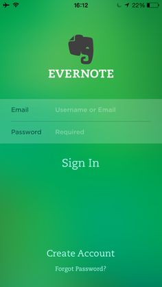 Evernote login screen