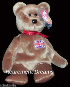 BRITANNIA UK England Country Exclusive TY Beanie Baby Bear Union Jack #TyBeanieBabies