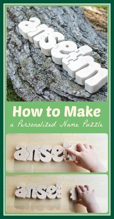 How to Make a Personalized Name Puzzle: a DIY project to introduce children to letters- great preschool/prek activity Diy Handmade Toys, Diy Toys, Wooden Names, Wooden Puzzles, Wooden Jigsaw, Wooden Toys, Jigsaw Puzzles, Woodworking Saws, Woodworking Crafts