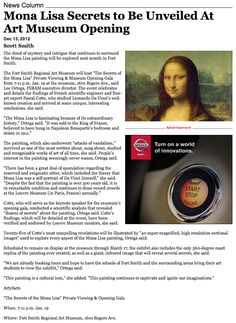 """Mona Lisa Secrets to Be Unveiled At Art Museum Opening."" -Hispanic Business, 12/13/2012"