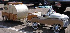 Vintage pedal car & matching camper.
