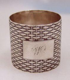 American Coin Silver Basket Weave Napkin Ring Wood Hughes New York 1870 Silver Napkin Rings, American Coins, Basket Weaving, Pewter, Antique Silver, Weave, Cuff Bracelets, Berries, York
