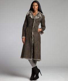 Cole Haan : taupe sheepskin shearling long coat