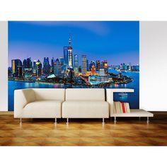 Ideal Decor Shanghai Skyline Wall Mural - DM135