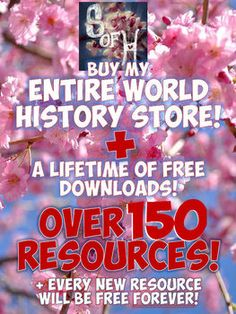This download includes EVERY resource for World History currently in my store! Yes, 156 resources and counting PLUS you will automatically have access to every new resource added to my TpT store forever! Buying each of these separately would be close to $500! This will save you countless hours over the course of a school year! Any new PowerPoint, worksheet, project, or resource for World History you will get for free! Now is your chance to gain a lifetime membership for an amazing discount!