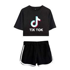 Womens Tik Tok Printed Loose Crop Top & Shorts Lounge Wear Co Set Outfits Kids Outfits Girls, Cute Outfits For Kids, Teenager Outfits, Cute Casual Outfits, Crop Tops For Kids, Cute Crop Tops, Crop Top And Shorts, Crop Top Outfits, Girls Fashion Clothes