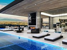 By Located in Los Angeles, California ————————… Modern Luxury, Modern Interior, Interior And Exterior, Bel Air Road, Island With Seating, Property Design, Luxury Villa, Living Spaces, Patio