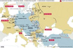 This Map Shows The Location Of The Major Battles Of World War 1