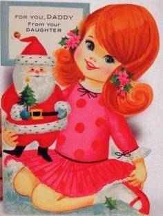 #935 60s Gibson Unused Girl and Santa Doll-Vtg Diecut Christmas Greeting Card