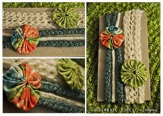A sweet summer set of two headbands to don the little mermaid in your life; made in this years beach themed colors,  Headband A: crocheted in bright cream and dotted with a spicy green fabric wheel; size 12-13 in. Newborn  Headband B: braided in stormy sea teal and bright cream, and dotted with a colorful fabric wheel in coral orange, spicy green and bay blue; size 14-15 in 0-6 month
