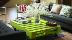 love this bright and glossy pallet coffee table with wheels...but in a different color