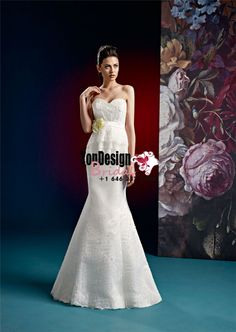 2017 Appliques Sweetheart Beading Flower Mermaid Zipper Lace Satin Sweep Train White Wedding Dresses