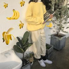 yellw sweatshirt,yellow outfit, pastel outfit, pastel clothes, pastel grunge, pastel, aesthetic sweatshirt, soft grunge, monochrome, boogzel apparel