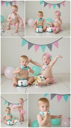 MN baby photographer Twins cake smash!