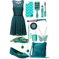 """Teal Party Dress"" by itsfashionistafaith on Polyvore.  Blue dress outfit for date or party with matching iphone case and accessories #togildthelily"