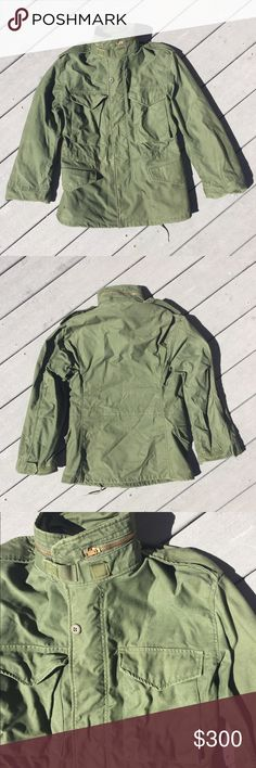 Authentic Cold Weather Military Jacket, Vintage This is an original Green American Military jacket, it's extremely heavy duty, warm & very durable. The tag says it's a Men's cold weather coat for field activity. Extra Small: will fit a height up to 67 inches and chest up to 33. This coat comes with a built in hood (located under the collar zipper) it has 2 sets of buttons on the front as well as a zipper. Huge pockets & plenty of draw cords for adjustments. Normal wear with one small paint…