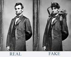 """Sorry Abraham Lincoln wasn't a 1800 Ghostbuster nor was he a vampire hunter. its easy to see it was  fake, here is the """"original"""" photo next to the FAKE photo.  An extremely rare photograph of President Abraham Lincoln taken during his brief yet memorable stint as a paranormal investigator and eliminator circa 1864.~"""