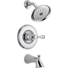 Delta Silverton 1-Handle Tub and Shower Faucet in Chrome-144713 at The Home Depot  this would match the new faucets we installed