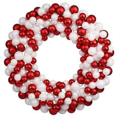 """36"""""""" Sparkling Red & White Candy Cane Shatterproof Christmas Ball Ornament Wreath"""