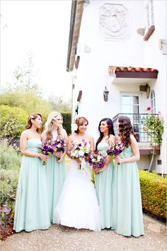 Mint green bridesmaid dresses... Wedding ideas for brides, grooms, parents & planners ... https://itunes.apple.com/us/app/the-gold-wedding-planner/id498112599?ls=1=8 … plus how to organise an entire wedding ♥ The Gold Wedding Planner iPhone App ♥ http://pinterest.com/groomsandbrides/boards/