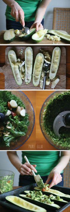 Kale Pesto Baked Zucchini (vegan gluten-free)