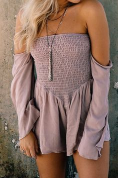 #summer #outfits / off the shoulder purple romper