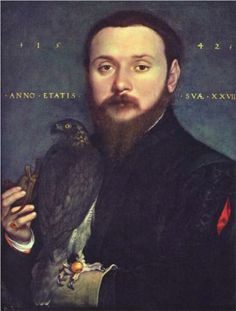 Portrait of Nobleman with a falcon - Hans Holbein the Younger