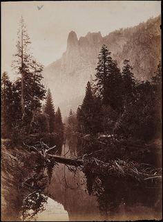+~+~ Antique Photograph ~+~+ Sentinel Rock, Yosemite, California by photographer Carleton E. Watkins (1829-1916)