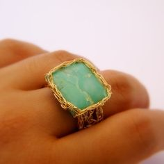 Square Chrysoprase Ring, Crochet Gold Wire, Size 10. $50.00, via Etsy.