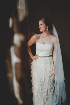 Real BHLDN bride in our Mille Petals Corset Gown Photography By / taylorlordphotography.com
