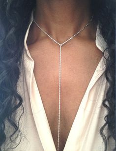 I love how Lariat Necklaces transform an outfit!  The Necklace is made from a lovely and unusual fancy link Sterling Silver Chain. The Chain is