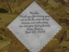 Wedding Handkerchief personalized for future Mother In Law Hankie gift for Mother of Groom. $15.00, via Etsy.