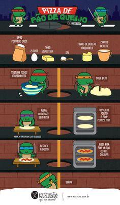 receita infográfico de pizza de pão de queijo