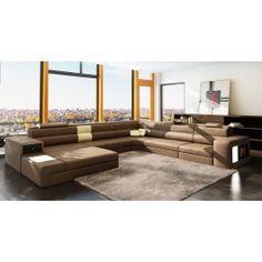 IG3167 Modern Leather Sectional Sofa w/Lights
