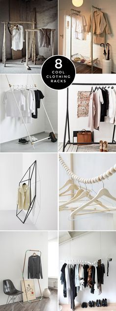 8 Cool Clothing Racks. Like the bead idea to keep things separated ..