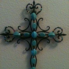 DIY beaded & wire wrapped cross