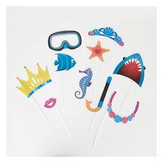 Birthday mermaid: All the birthday decoration! Nautical Photo Booth, Pochette Surprise, Birthday Decorations, Photo Props, Kit, Party, Mermaid, Baby Shower, Centre