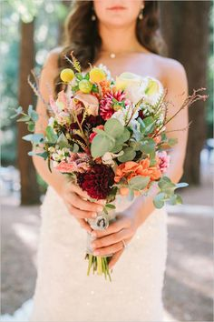 Deep and bright colored mixed bouquet. Floral Design: Going Lovely ---> http://www.weddingchicks.com/2014/05/16/bold-and-bright-diy-wedding/