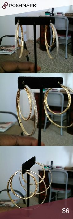 Double hoop glitter earring new This earring is super cute sliver glitter  earring Jewelry Earrings