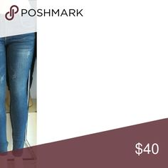 Dark Blue Denim Jeans Nice Dark Blue Denim Jeans  Distressed look Great stretch Material   Will provide measurements upon request   Sizes available 1 3 5 7 9 11 13 15 17   Please feel free to ask any questions   Great pair of Denim Jeans to.have   I do bundle  Offers   No lowballing  No trades favor21 Jeans Skinny