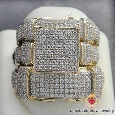 Lab Created Yellow Gold Over Diamond Engagement Bridal Wedding Trio Ring Set Engagement Wedding Ring Sets, Engagement Ring Settings, Diamond Engagement Rings, Diamond Rings, Bridal Bands, Wedding Ring Bands, Cheap Wedding Rings, Wedding Jewelry, Or Rose
