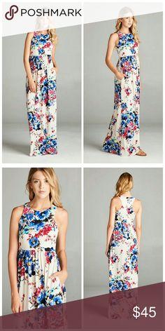 Floral Print Maxi Dress Maxi dress with hidden pocket. Razor back. 8 Dresses Maxi