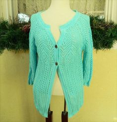 Christopher Banks Boho Pointelle Knit Sweater M Classic Comfy Party Fun Jeans #ChristopherBanks #Cardigan