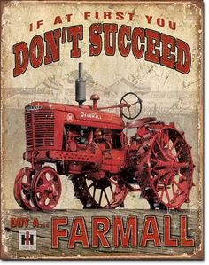Farmall Succeed | Tin | Metal | Sign | Nostalgic | Vintage | Retro | Tractor | A Simpler Time