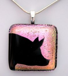 Show pig dichroic glass pendant by hopthefence on Etsy