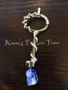 Wire Wrapped Alloy Antique Key Replica Pendant with Sodalite Accent by KannasTreasureTrove on Etsy