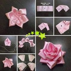 Satinband Rosen Diy Tutorial - Www Mrsbr - Diy Crafts Ribbon Art, Diy Ribbon, Ribbon Crafts, Flower Crafts, Ribbon Rose, Paper Ribbon, Paper Flowers Diy, Handmade Flowers, Fabric Flowers