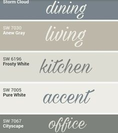 Sherwin Williams whole home palette. by cara Sherwin Williams whole home palette. by cara Farmhouse Paint Colors, Kitchen Paint Colors, Farmhouse Wall Decor, Bedroom Paint Colors, Paint Colors For Living Room, Paint Colors For Home, Rustic Paint Colors, Wall Paint Colors, Country Farmhouse